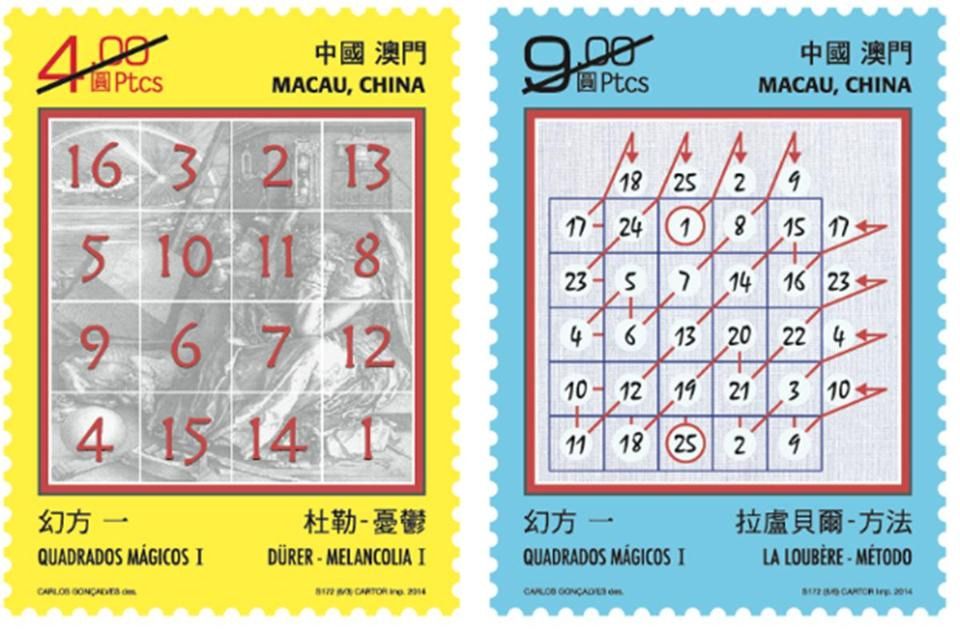 "Left: Albrecht Durer's magic square from 1514; right: A magic square from 1693 showing the ""Siamese Construction Method."""