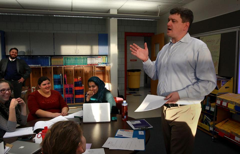 Former Boston mayoral candidate John R. Connolly at a meeting with teachers at Bentley Elementary School in Salem.