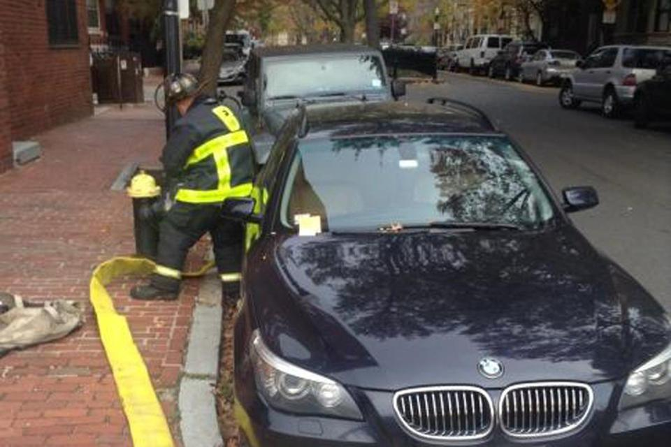 The Boston Fire Department tweeted out a picture of the BMW parked so close to a hydrant that it rendered it useless to firefighters.