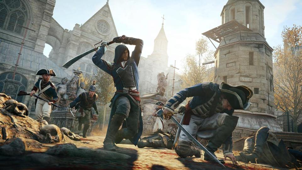 "A scene from ""Assassin's Creed Unity."""