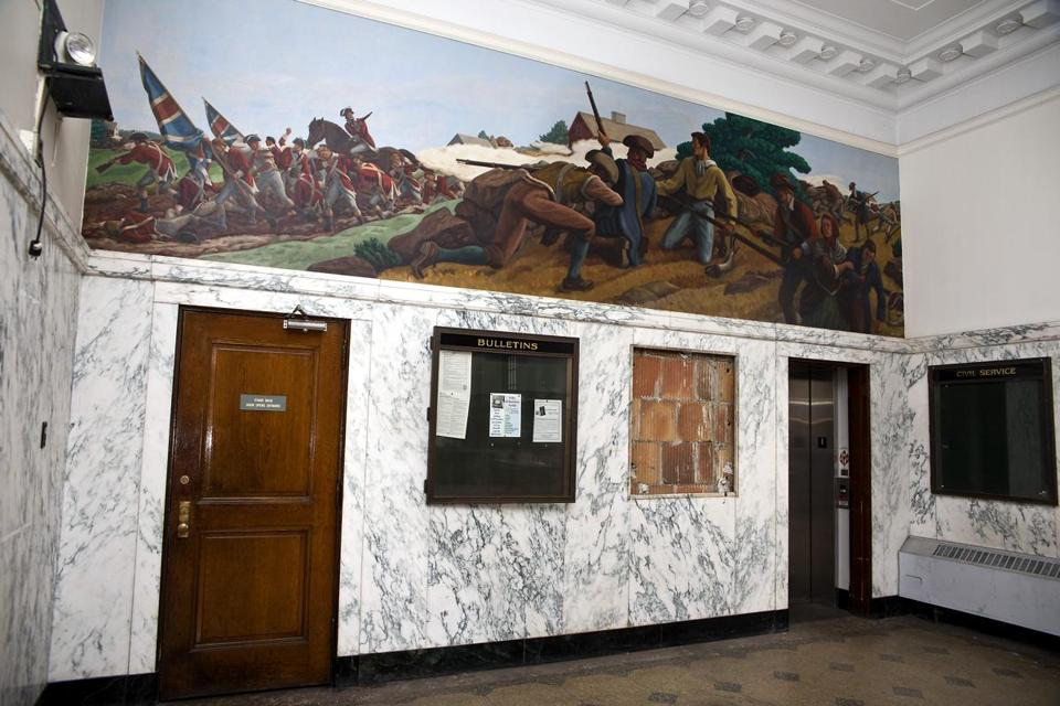 Ross Moffett's 1937 mural adorns the former Union Square Post Office in Somerville.