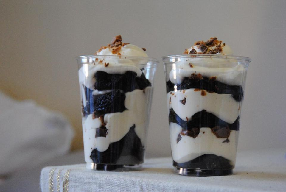 Articles on bu.spoonuniversity.com include a recipe for easy brownie parfaits (top) and