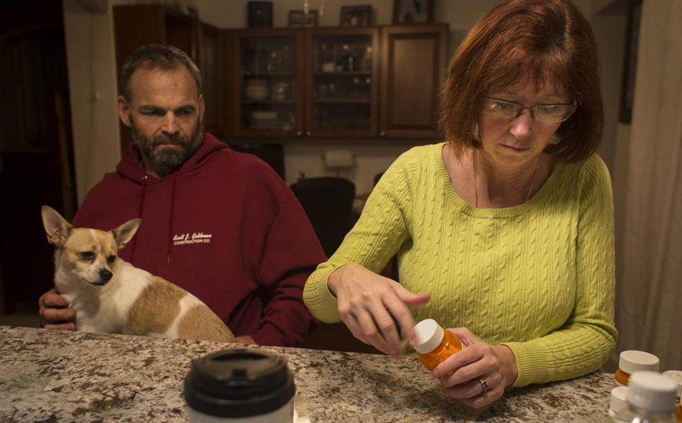 Melissa Burdick takes a variety of pills for  multiple sclerosis.