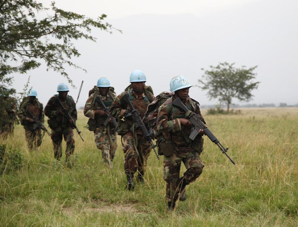 Soldiers from the United Nations intervention brigade in Virunga National Park in the Democratic Republic of Congo in 2013.