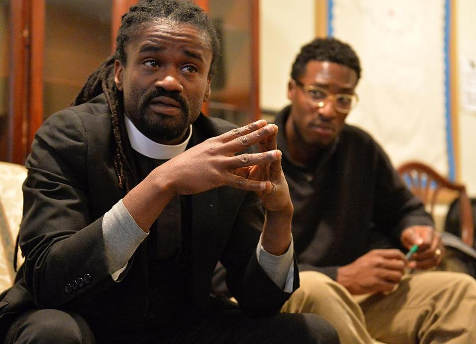 The Rev. Osagyefo Uhuru Sekou of the First Baptist Church in Jamaica Plain spoke to participants during a nonviolent civil disobedience training session Sunday in St. Louis, Mo.