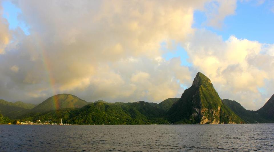 Empowered by an SLR tutorial, Muther captured a rainbow off Soufrière's coast.