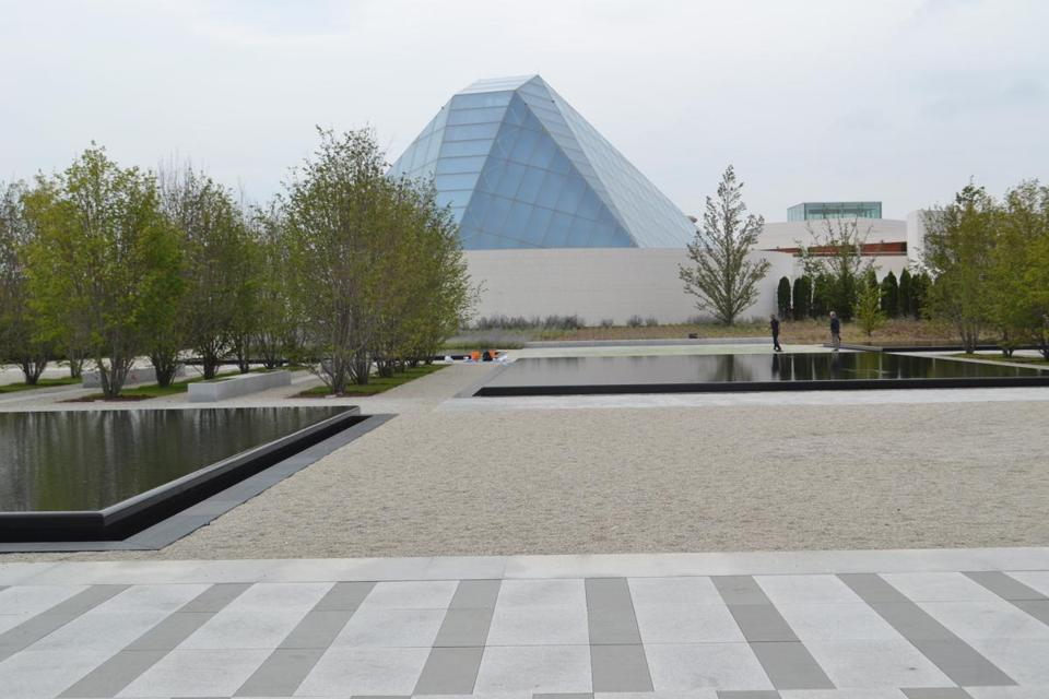 "Architect Fumihiko Maki designed the Aga Khan Museum (above), while Charles Correa designed its Ismaili Center (top left).  A detail of Imran Qureshi's ""The Garden Within"" (left)."