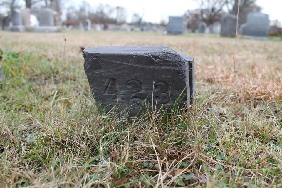 Lydia Bixby's unmarked grave is in Mattapan.