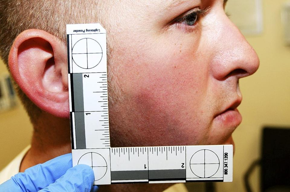 An undated evidence photograph made available by the St. Louis County prosecutors office of Darren Wilson.
