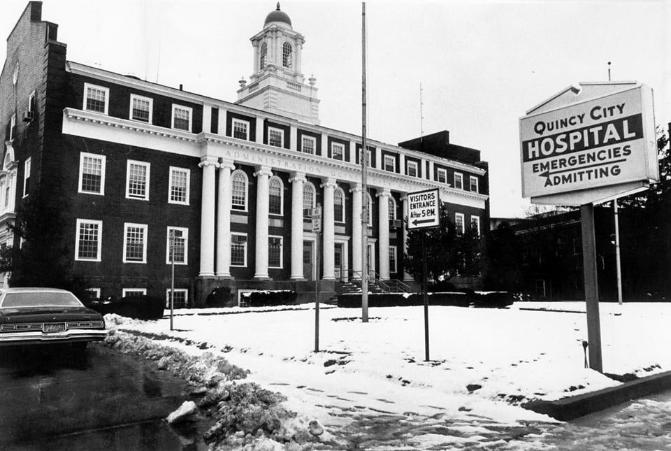 2/26/1981 Exterior view of Quincy City Hospital. Globe file photo Joe Runci.
