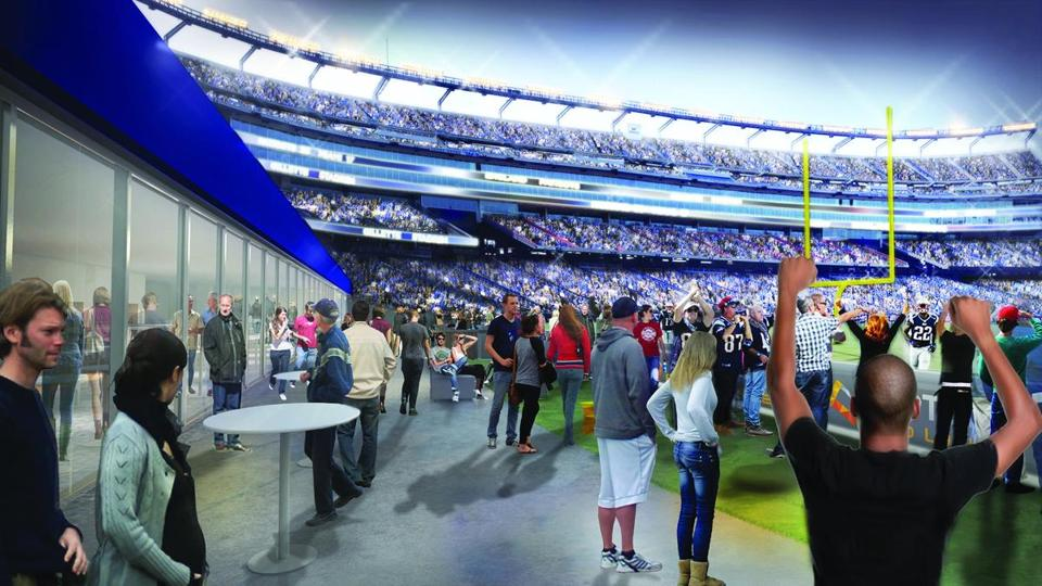 Rendering of the new Optum field lounge the patriots are planning to build behind the end zone at Gillette Stadium.