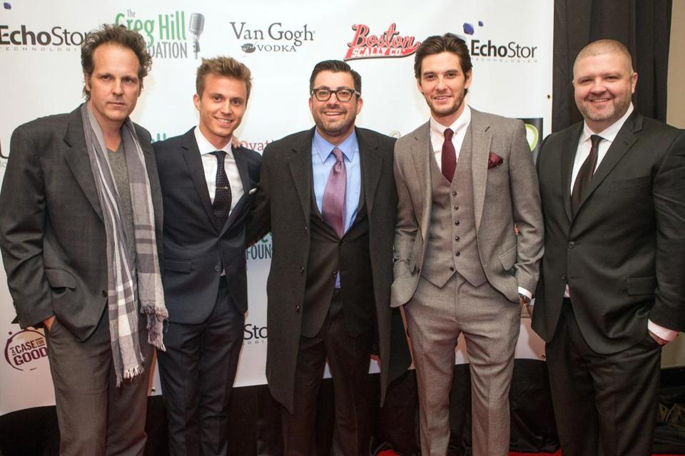 "At the ""By the Gun"" premiere on Monday, (from left) director James Mottern, Kenny Wormald, writer Emilio Mauro, and Ben Barnes."