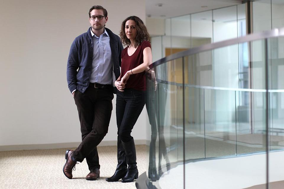 Cambridge, MA., 12/01/14, At the Broad Institue, Pardis Sabeti, right, and Stephen Gire are working on Ebola. Section: Magazine Suzanne Kreiter/Globe staff