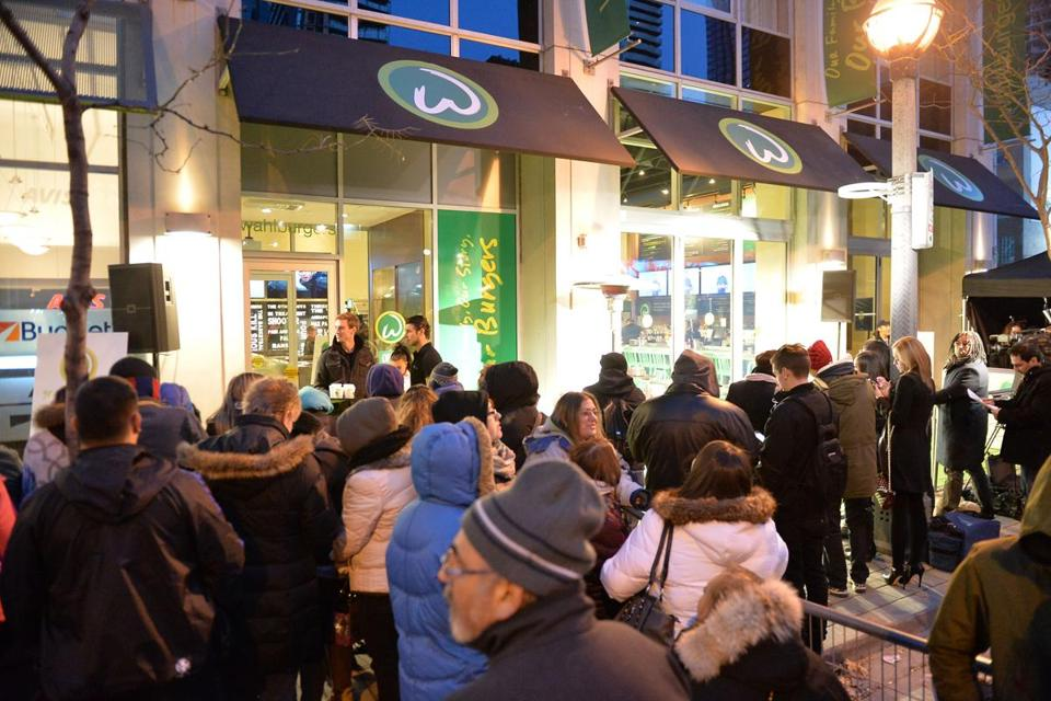 Crowds lined up for the opening of the Wahlburgers in Toronto at the Soho Metropolitan Hotel in November.