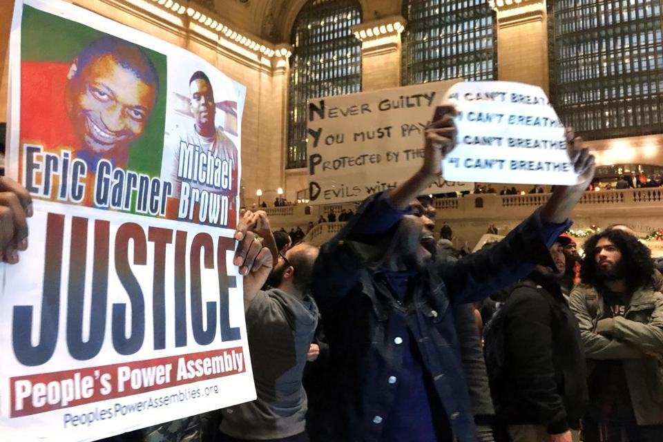 People protested in Grand Central Terminal after it was announced that the New York City police officer involved in the death of Eric Garner was not indicted.