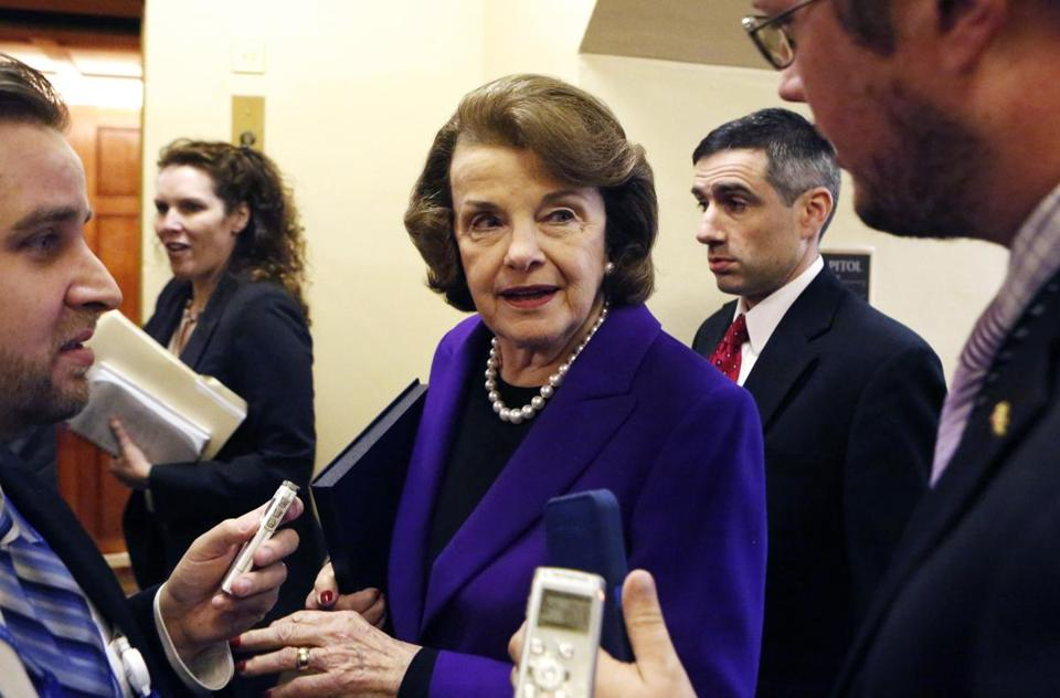 Senator Dianne Feinstein spoke with reporters as she walked to the Senate floor. The California Democrat is the chairwoman of the Senate Intelligence Committee.