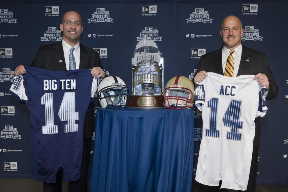 Penn State coach James Franklin (left) and BC's Steve Addazio will lead their teams against one another Dec. 27 in the Pinstripe Bowl AP Photo/John Minchillo