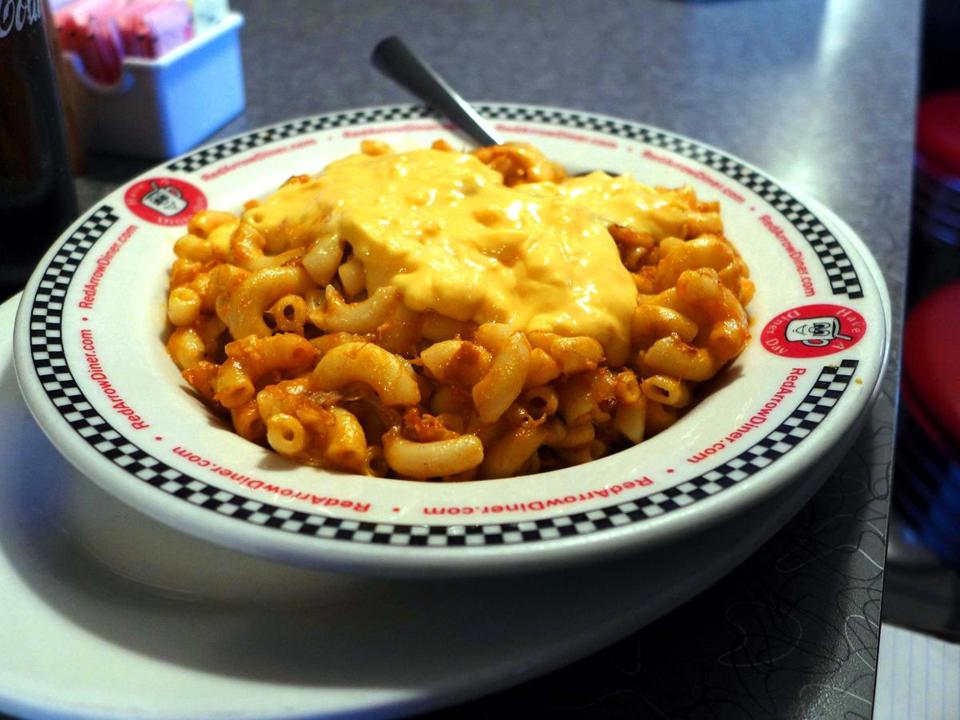 The Red Arrow makes it own macaroni and cheese from scratch. This bowl is a popular version with spicy barbecued pulled pork mixed in.