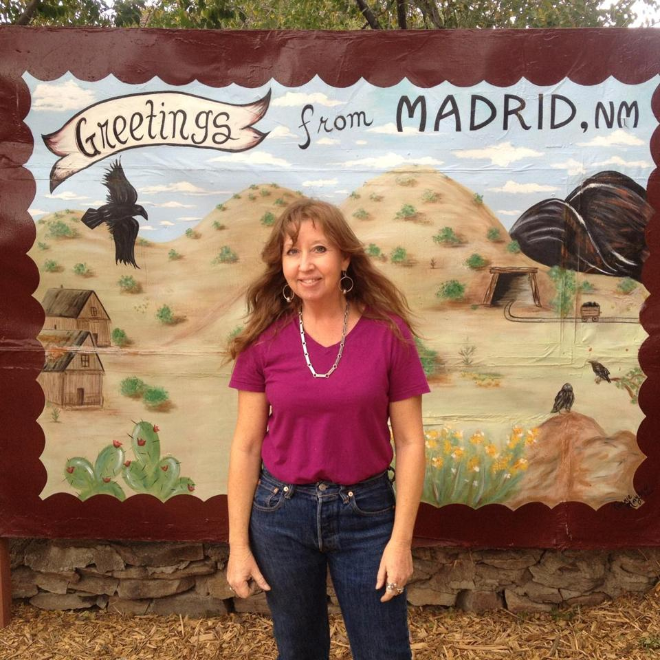Connie Mayhew owns Connie's  Photo Park in Madrid, a collection of cut-out signs you can pose with.