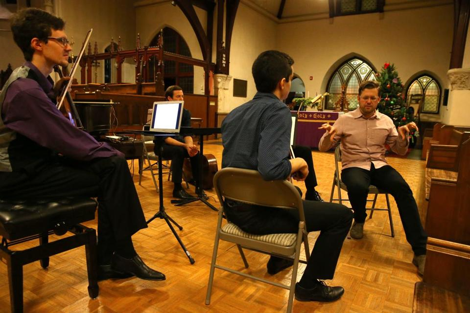 Robert Honstein (right) at the Boston Young Composers Ensemble performance at St. John's Episcopal Church.