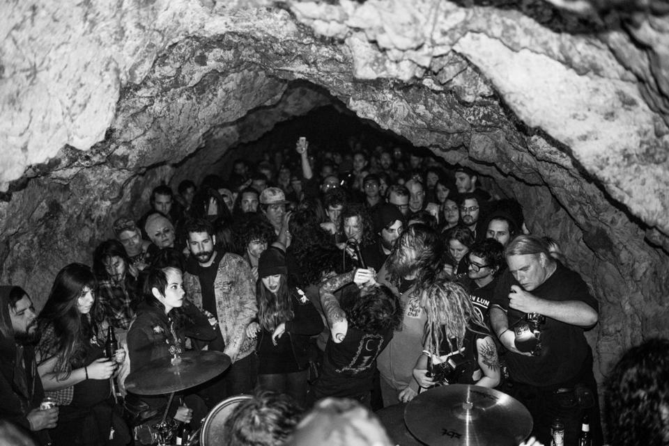 Boston band Fórn playing Sutro Baths Cave in San Francisco on Aug. 10, 2014.