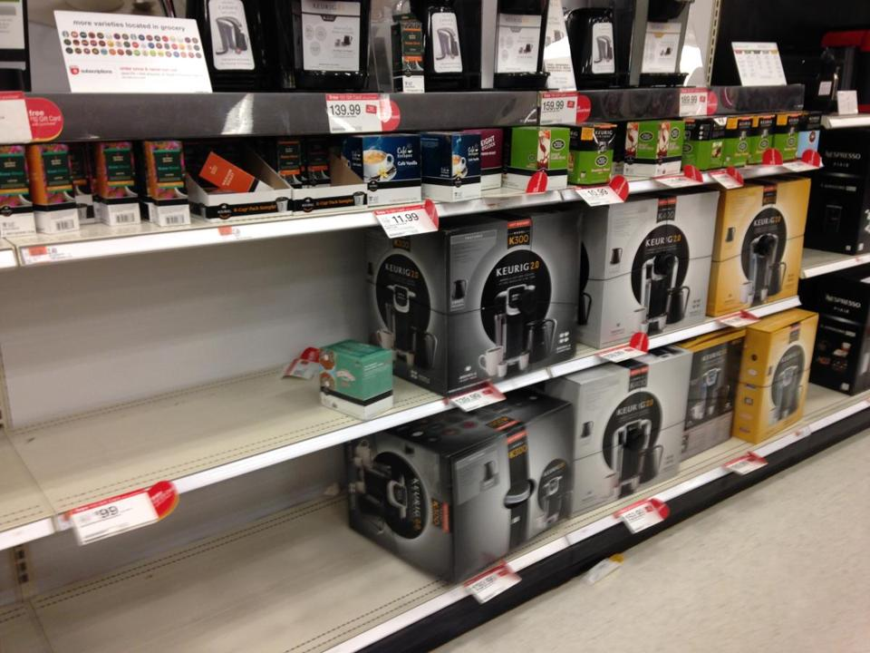 Shelves at a Target in Watertown had none of Keurig's older coffee machines, but did have the new Keurig 2.0 machines