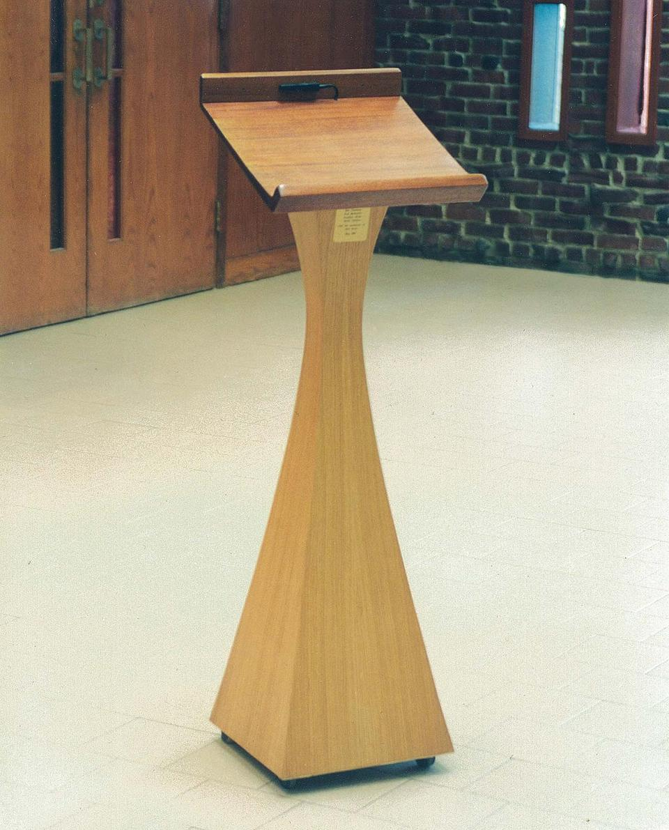 A multipurpose lectern used during services in the sanctuary and for speakers in the social hall.