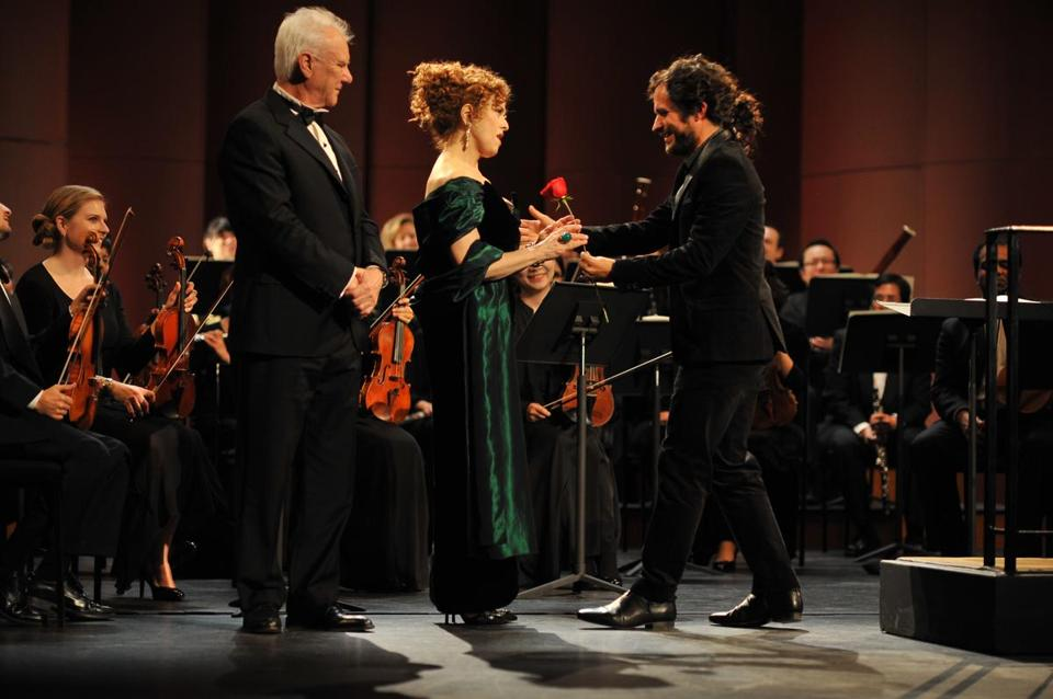 "Malcolm McDowell, Bernadette Peters, and Gael Garcia Bernal in ""Mozart in the Jungle."""