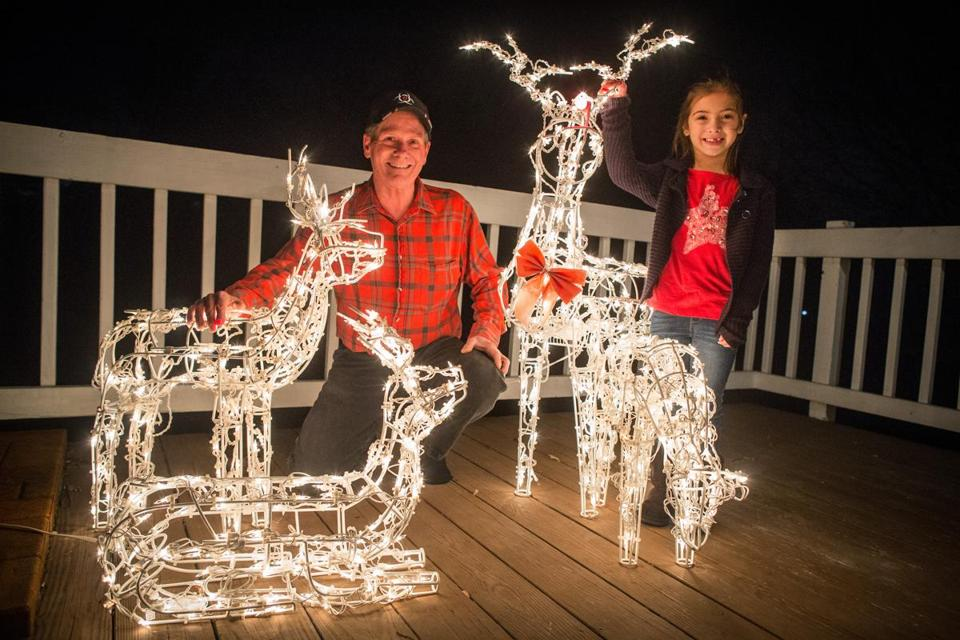 with his granddaughter ally having less time to help with his 19 lighted reindeer