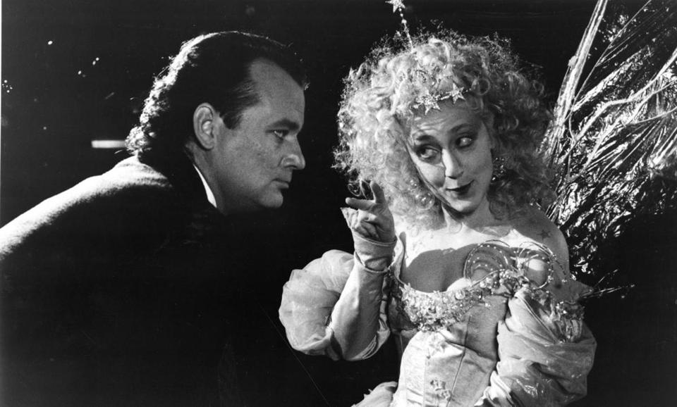 "Bill Murray and Carol Kane in ""Scrooged."""