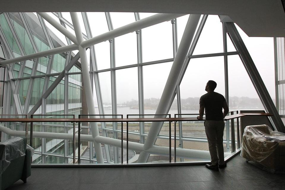 Jose Rodriguez, a senior graduate student, gets a look for the first time at the atrium of the science building. Now, the facility is often the first thing visitors see on campus.