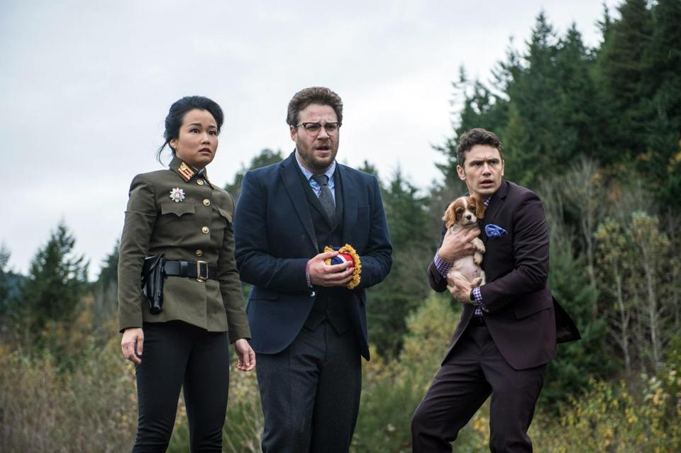 From left: Diana Bang, Seth Rogen, and James Franco in the comedy.