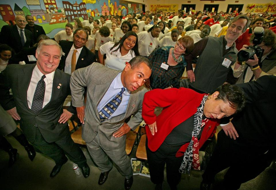 Starting on a light note: Vermont's Howard Dean joined Deval and Diane Patrick at a City Year event in 2007.