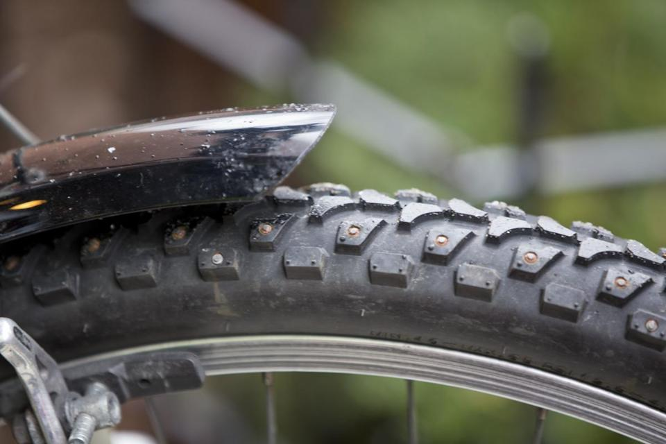 Peter Cheung equipped his bike with studded tires for the winter.