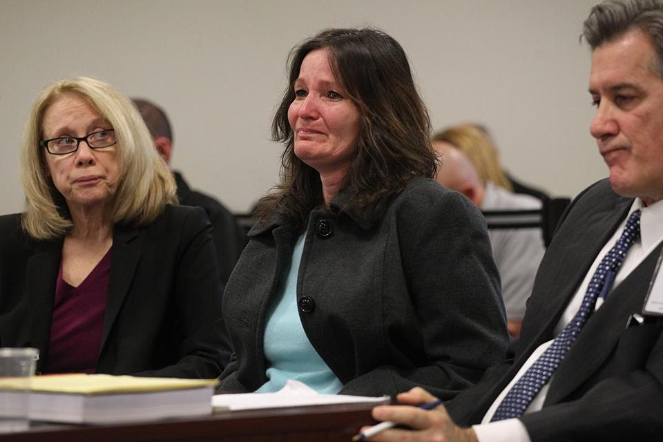 Nancy McGeoghean (center) asked the state Advisory Board of Pardons last month to allow her to leave prison.