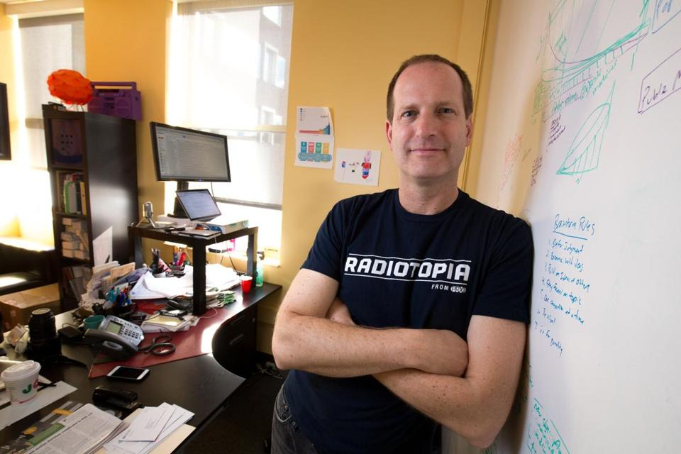 11fivethings - Dec. 31, 2014 - Jake Shapiro (cq), CEO of PRX, poses in his office in Cambridge, Mass. (Justin Saglio for The Boston Globe).