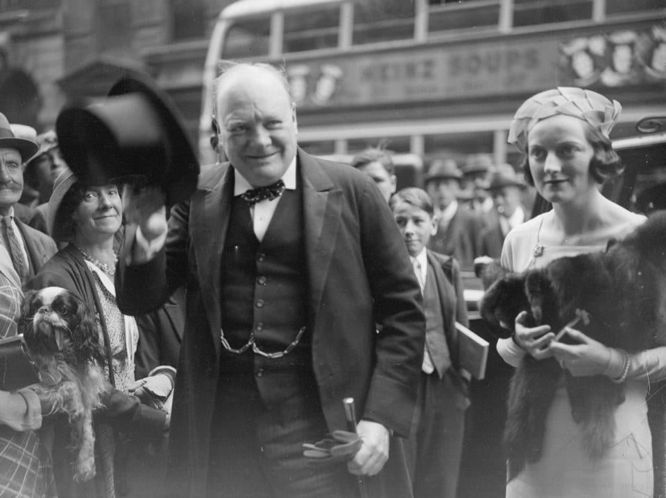 Winston Churchill arrives for his daughter's wedding in 1935.