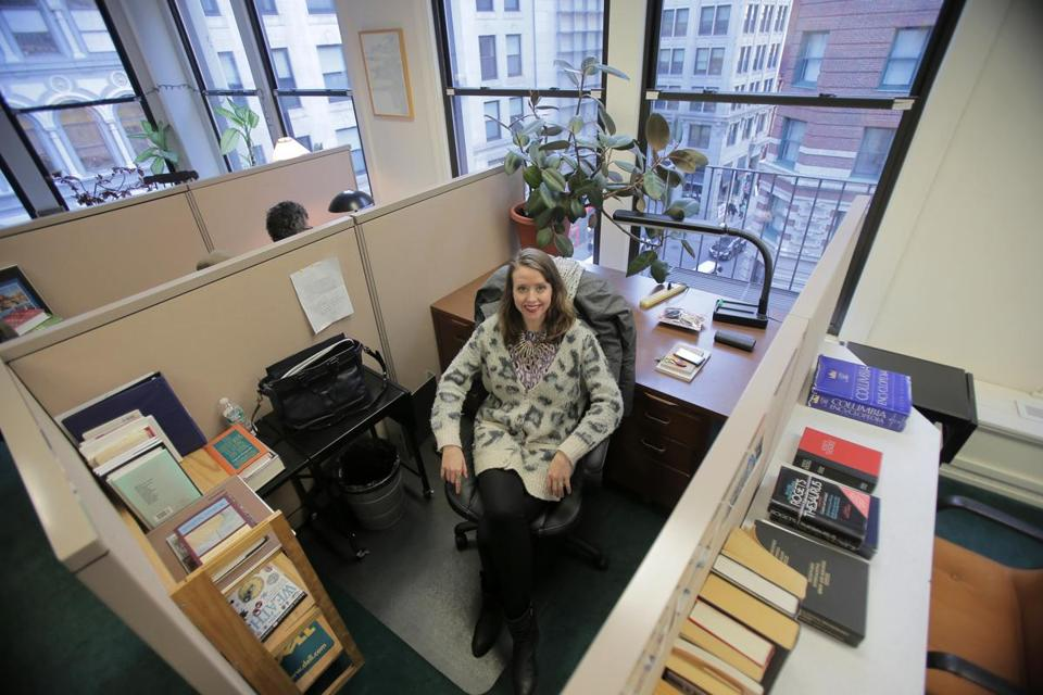 new england writers at work laura van den berg the boston globe laura van den berg in the writers room nonprofit cooperative work space near the