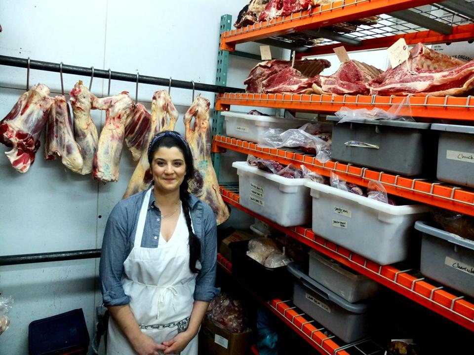 Butcher Cara Nicoletti in the walk-in at The Meat Hook, a whole-animal butcher shop in Brooklyn, N.Y., specializing in local meat from family farms.