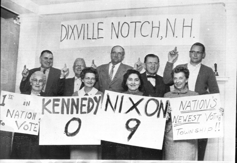 Dixville's nine eligible voters on Election Day in 1960, the first election after the township was incorporated.