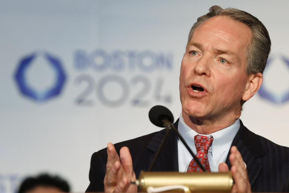 John Fish spoke about the USOC selecting Boston as its applicant city to host the 2024 Olympic and Paralympic Games .