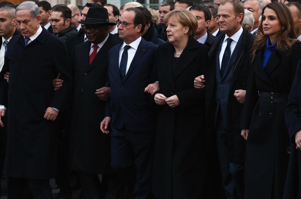 Israeli Prime Minister Benjamin Netanyahu, French President Francois Hollande, German Chancellor Angela Merkel, and Jordan's Queen Rania attend a rally Sunday.