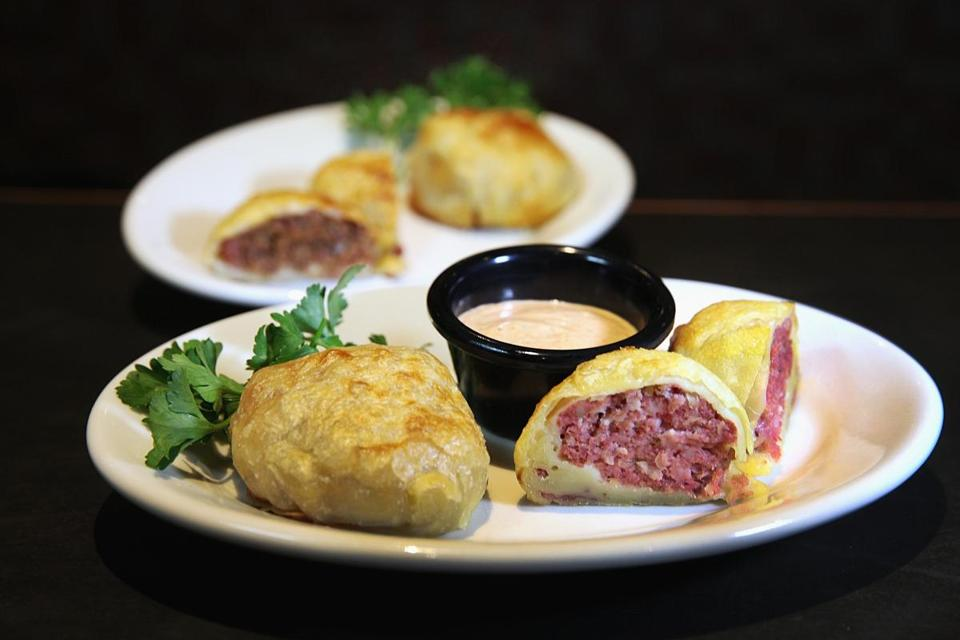 At Zaftigs Delicatessen, a Reuben knish, with corned beef and sauerkraut.