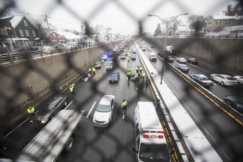 Traffic built behind protesters who blocked the Southeast Expressway northbound in Milton on Thursday morning.