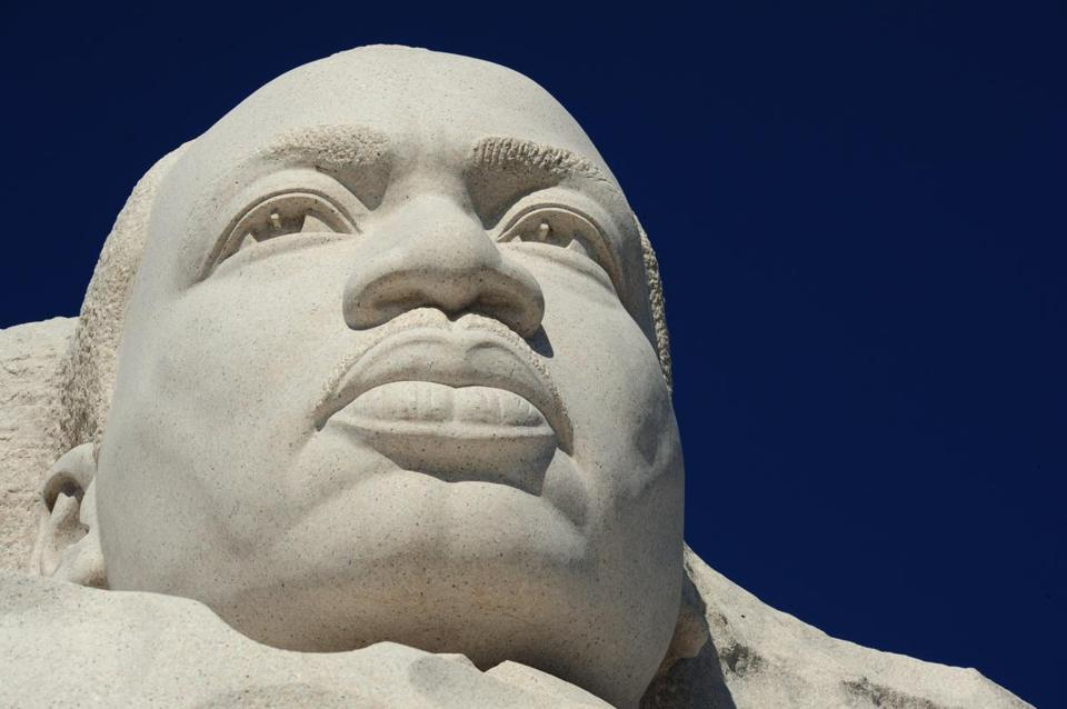 The Martin Luther King Jr. sculpture was seen at the MLK Memorial in Washington, D.C.