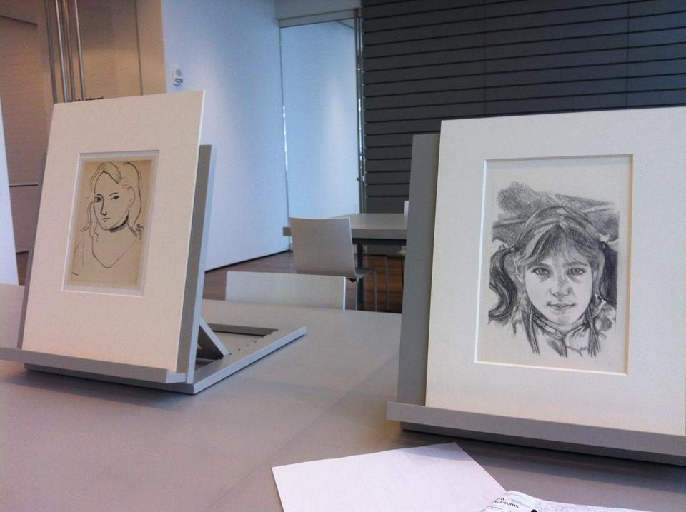 Personal visitations with the collection of treasures not on display in the Harvard Art Museums, including drawings (from left) by Henri Matisse and Lucian Freud, can be arranged in the Cambridge institution's new Art Study Center.