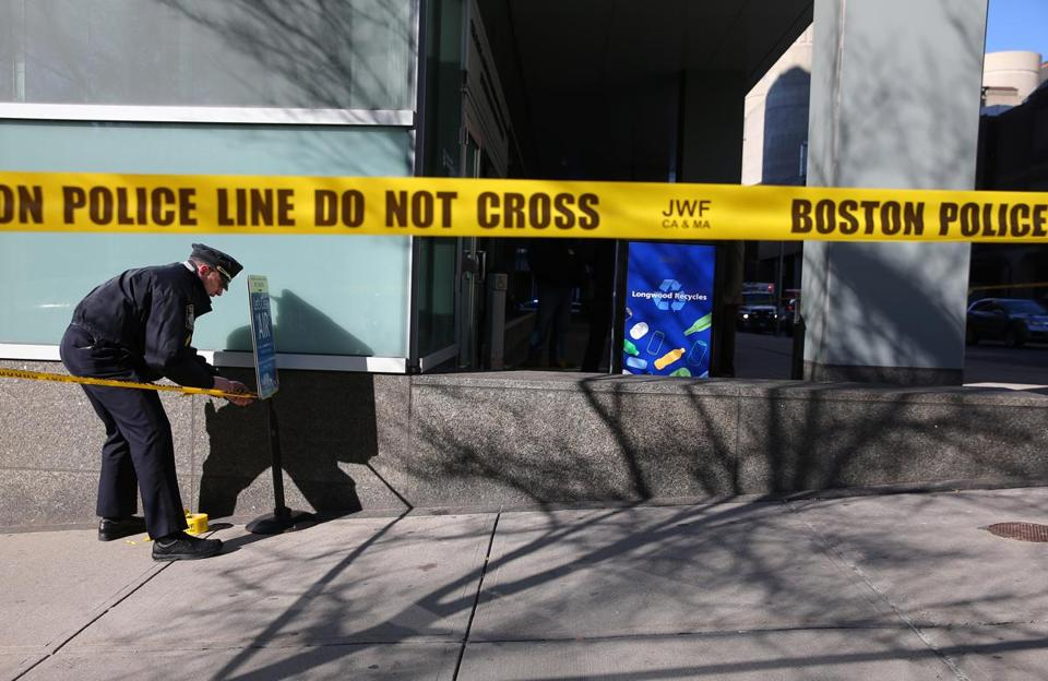 Boston police closed off a scene with crime tape in January 2015.