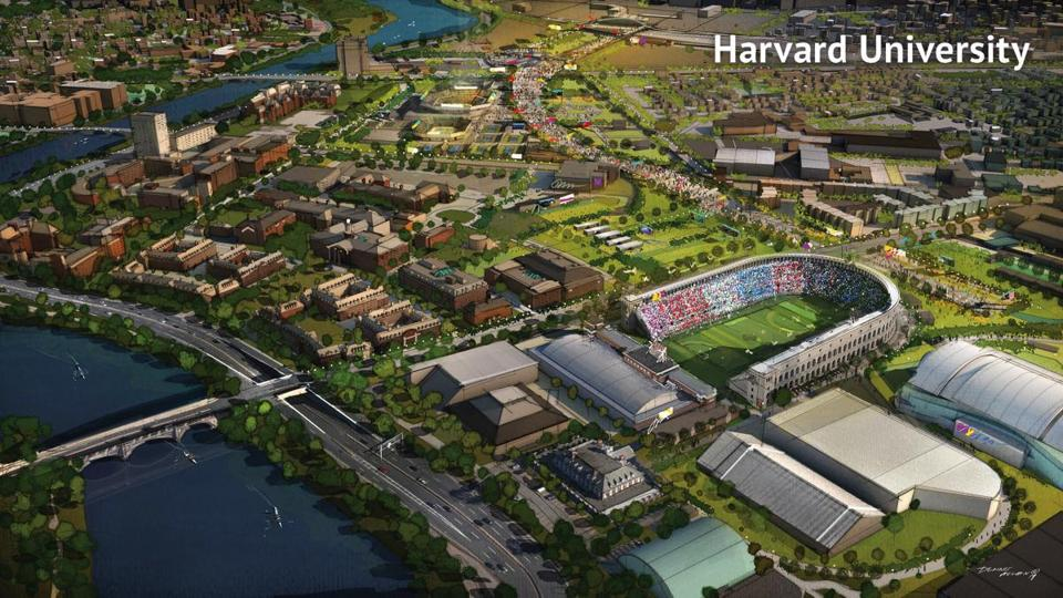 A conceptual drawing of field hockey at Harvard Stadium.