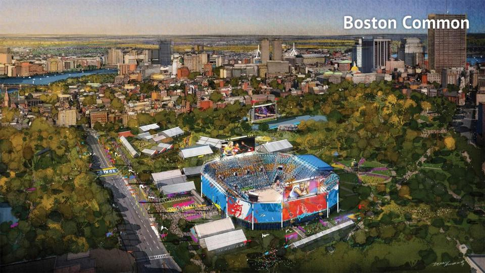 The proposed beach volleyball venue on Boston Common is seen in this rendering.