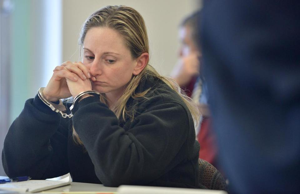 MBTA police officer Jennifer Garvey attended a dangerousness hearing in Woburn after a domestic dispute which allegedly involved a gun.